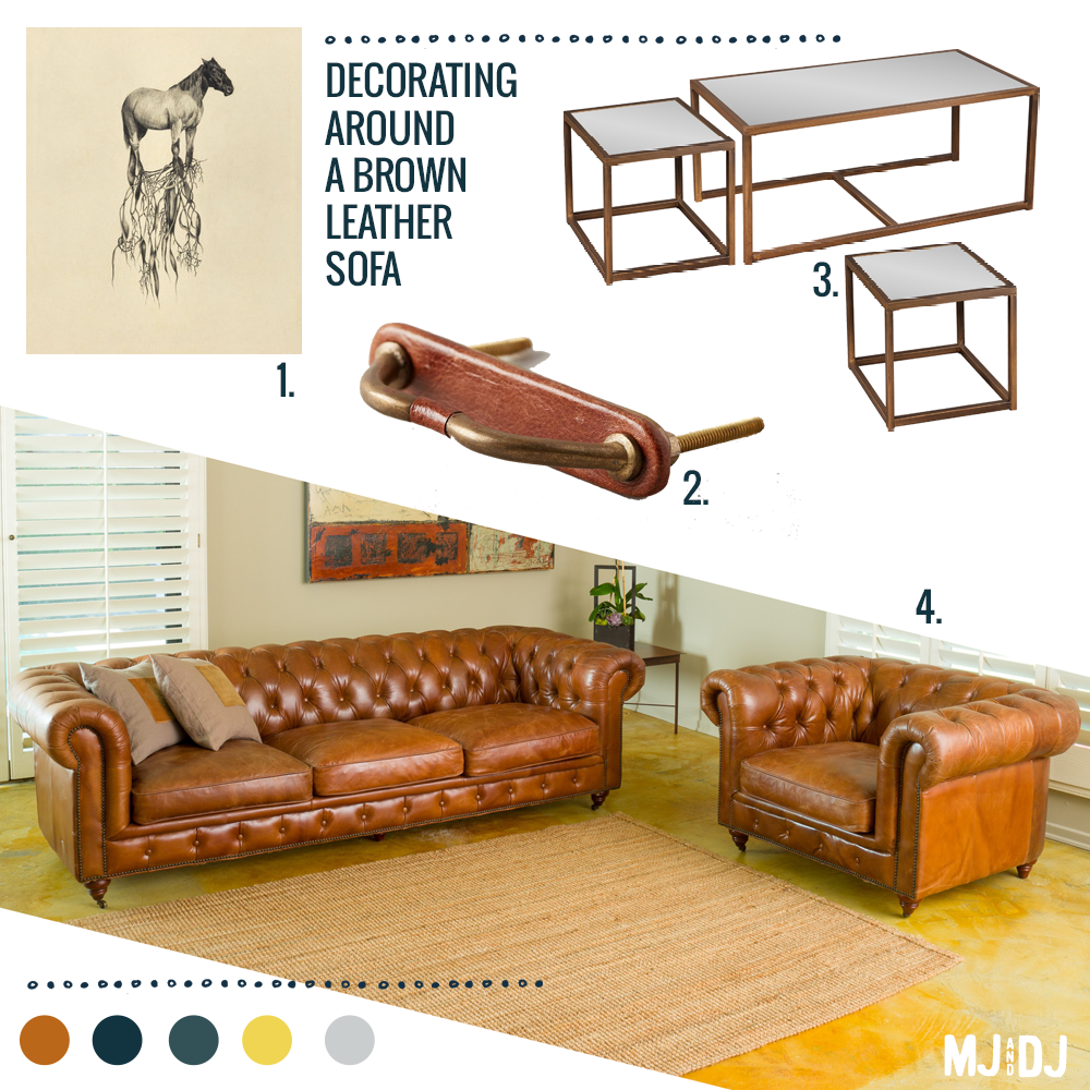 1. Uprooted by Heidi Landau | 2. Equestrian Handle | 3. Coffee and end table set | 4. Chesterfield sofa and chair