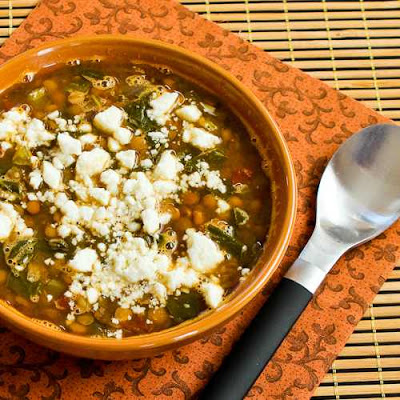 Slow Cooker Vegetarian Greek Lentil Soup with Tomatoes, Spinach, and Feta from Kalyn's Kitchen