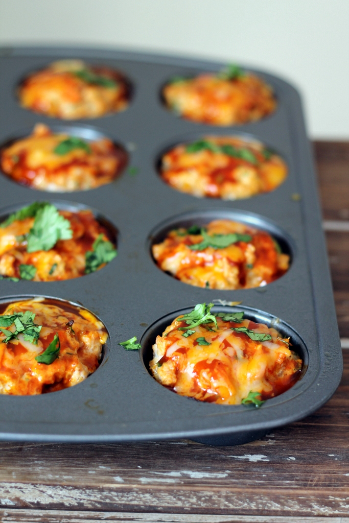Cheesy Chicken Quinoa Enchilada Meatloaf Muffins from Ambitious Kitchen