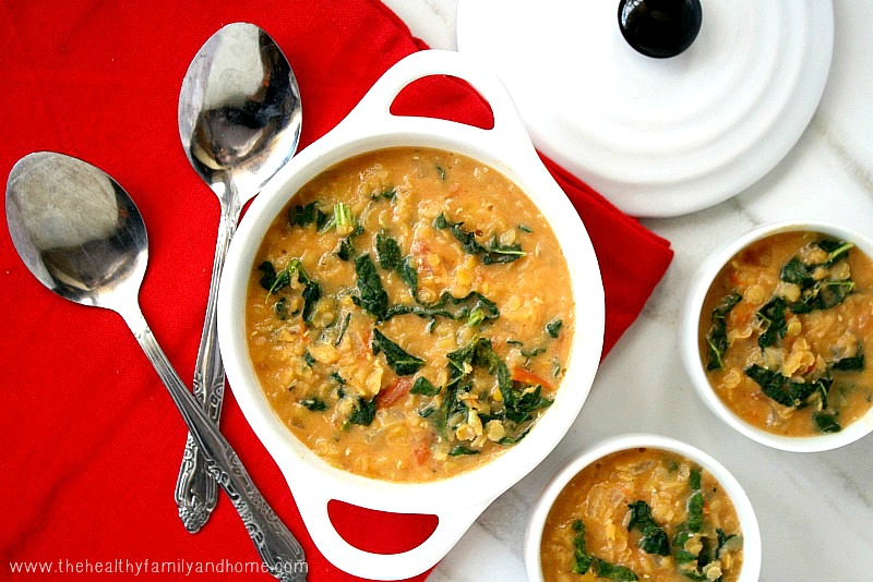 Creamy Red Lentil and Kale Soup from The Healthy Family and Home