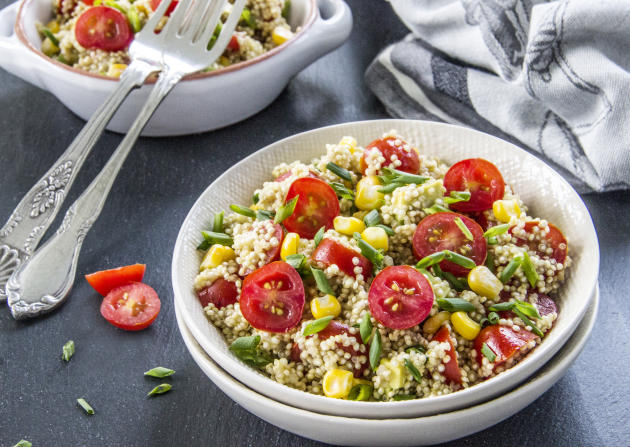 Quinoa Avocado Salad with Fresh Tomatoes and Sweet Corn from Food Fanatic