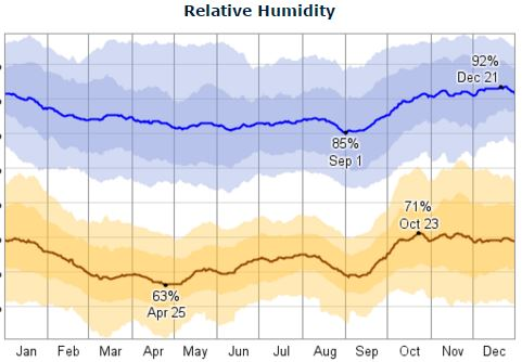 Roatan Honduras daily humidity; High is blue, and low is brown.
