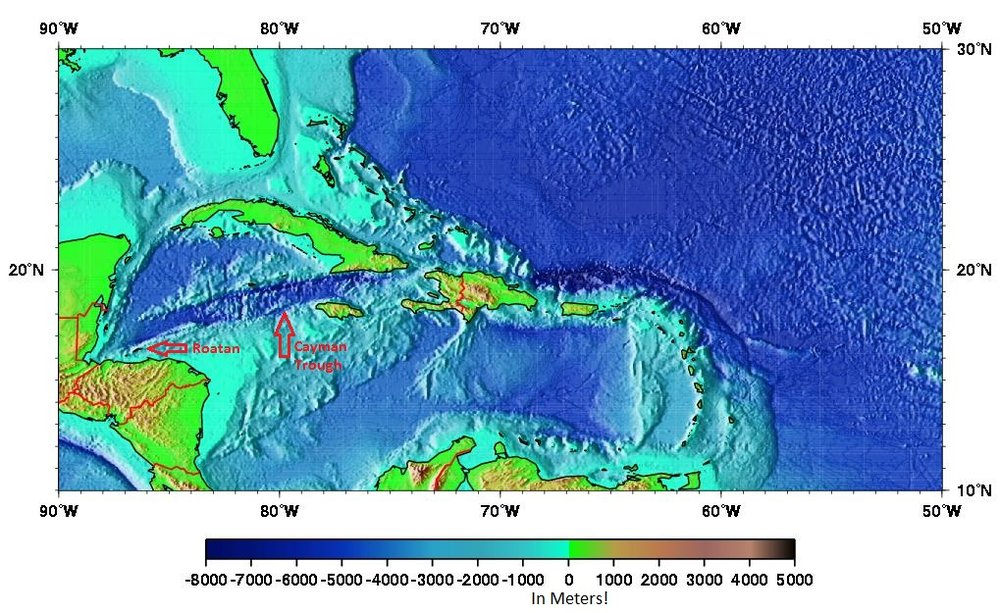 The Cayman Trench and Roatan - Click image to enlarge.
