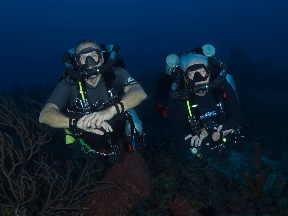 Tom and Mike with Closed Circuit Scuba, and without bubbles.
