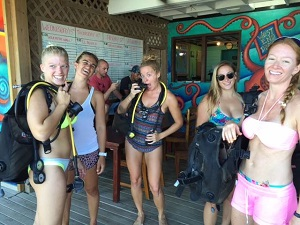 On Roatan, some of the gang are geared up, and going out for a bubble.