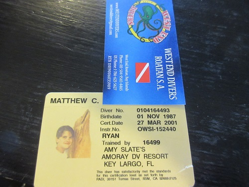 We have found your Junior Open Water card Mathew! Of course, you're 30 now...