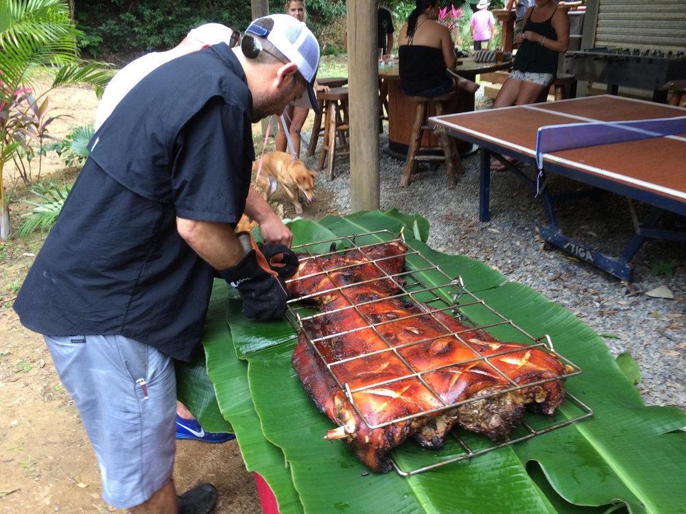 Roast Pig on banana leaves