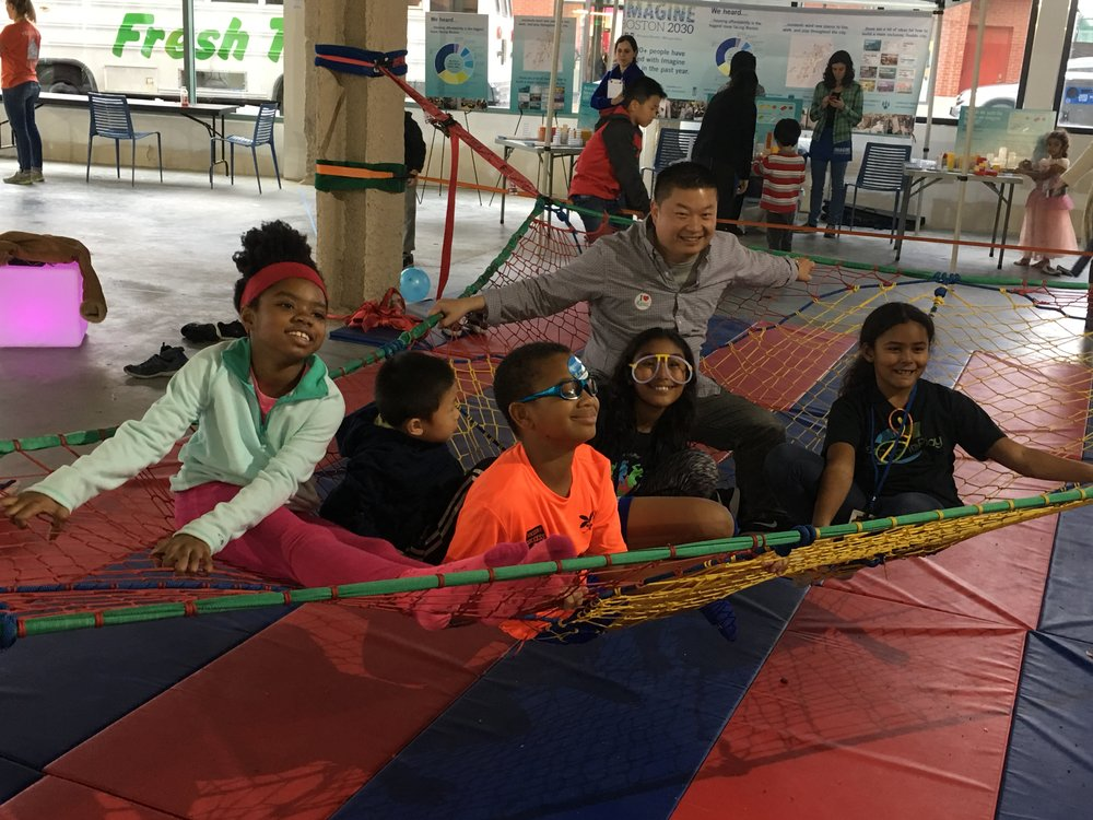 Superintendent Tommy Chang hangs in the space net with our future leaders.