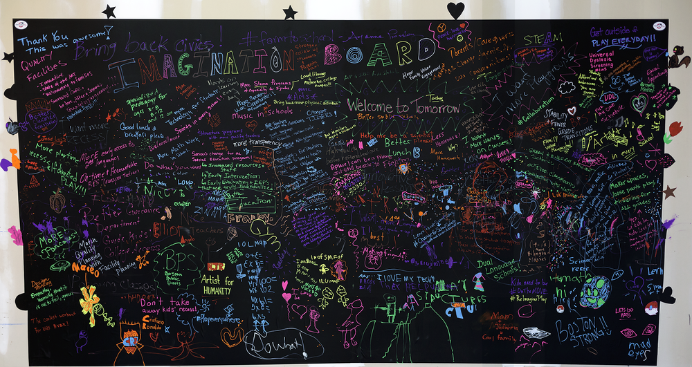 Imagination Board where attendees provided comments improving schools.