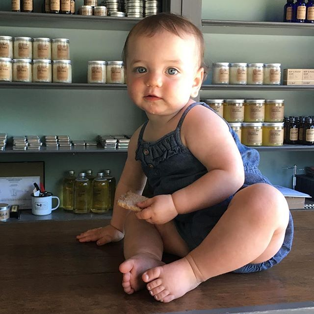 Our youngest helper is in the shop today, so stop in for your fix of sundries and sweet baby toes.  #handcrafted #naturalskincare #fewestingredients #smallbusinesswithkids
