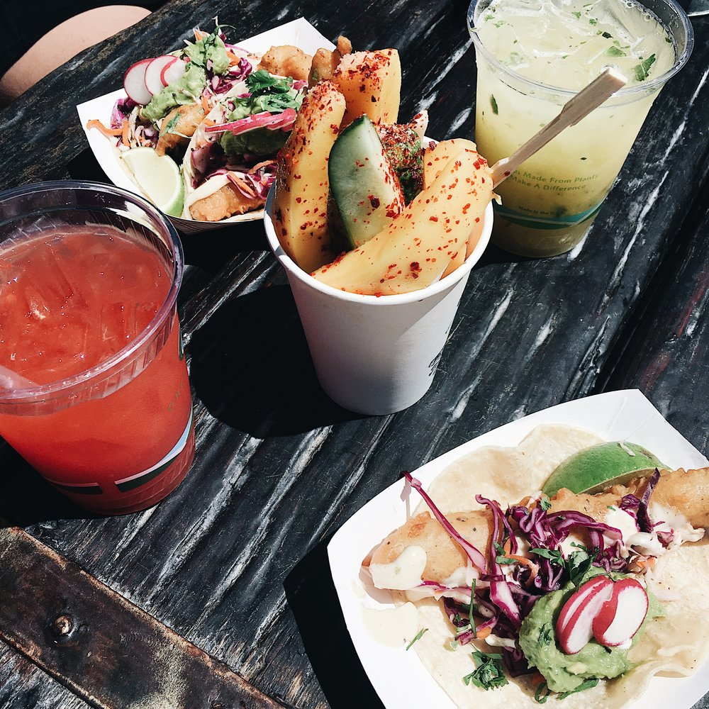 Pictured: Watermelon Juice, Fish Tacos with Guac, Cukes and Pineapple Mint Juice