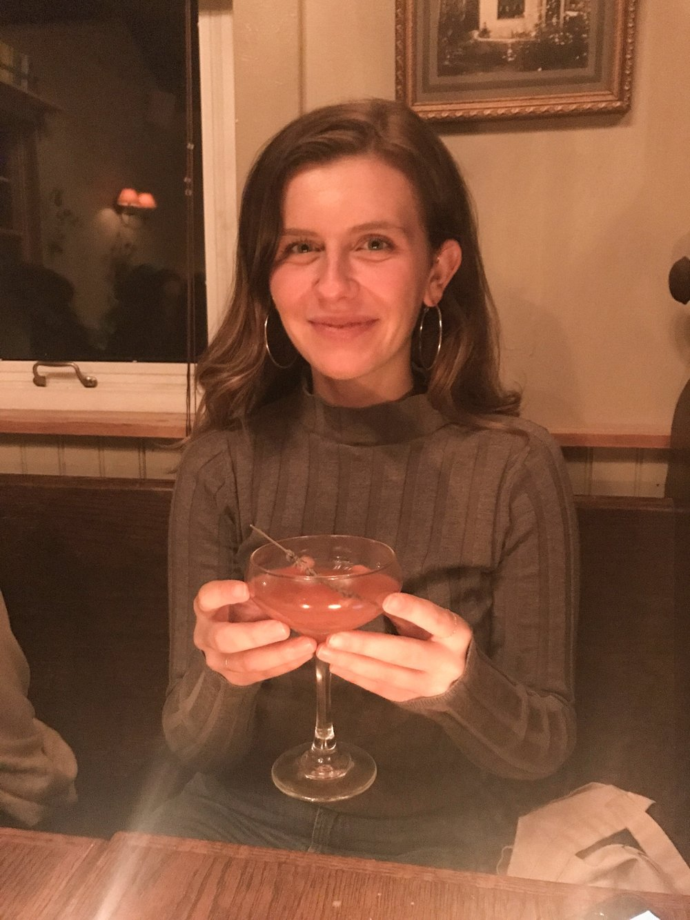 Here I am drinking Vida Mezcal, Aperol, lavender, honey, grapefruit, lemon, lavender bitters. It was so GROSS, but I smiled for the picture anyway for my dear friend Sarah.