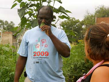 Members of the Woodlawn community garden