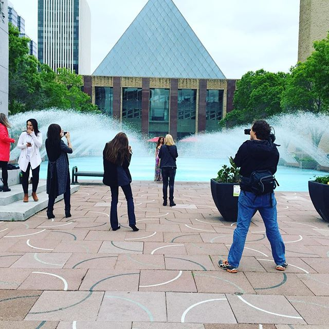 A little #bts from our #photoshoot. What a great crew we have! Here @donnalynnphotog is hard at work trying to freeze on of our models! #YEG #freezing #cold #water #fun #photos #beauty #ATC #team #gang #fun #lovelife