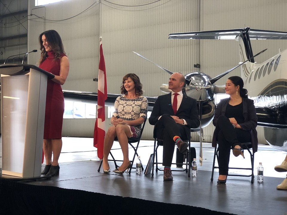 Left to Right: Kendra Kincade, Elevate Aviation Founder and Chair; Nicola Crosbie, Elevate Aviation Board of Directors; Randy Boissonnault, Member of Parliament for Edmonton Centre; and the Honourable Maryam Monsef, Minister of Status of Women Canada.