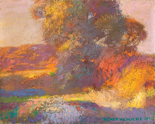 Henry Hensche, Chinese Elm in Autumn, Late Light, Oil on board, circa 1970's