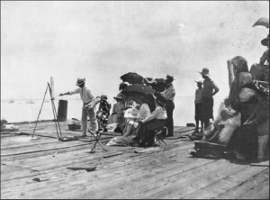 Charles Webster Hawthorne demonstrates outdoor painting at the Provincetown waterfront, 1910