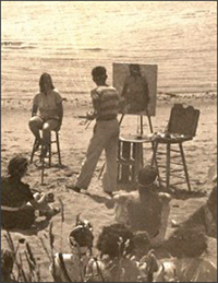 Henry Hensche conducts a portrait painting demonstration in Provincetown, 1960's