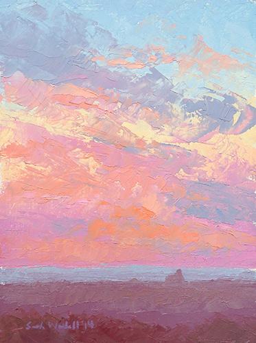 Race Point Sunset, oil on board, 8 x 6