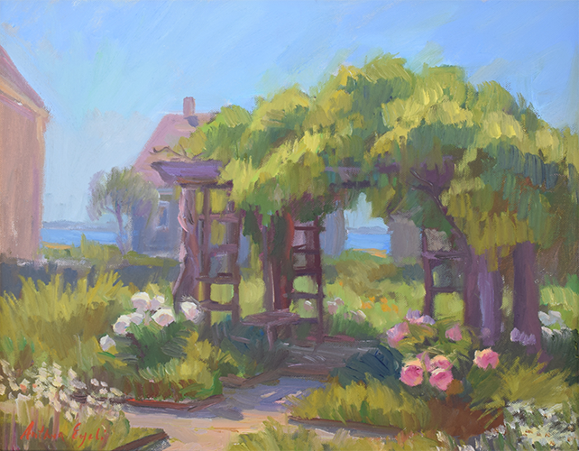 Provincetown Garden in Spring, oil on board, 16 x 20