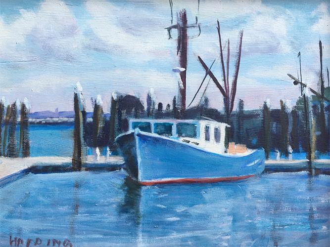 Fishing Boats, oil on board, 11x14