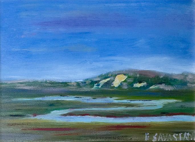 Provincetown Moors, oil on board, 9 x 12