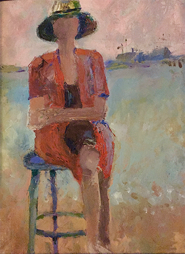 Woman in Red, oil on board, 12 x 16