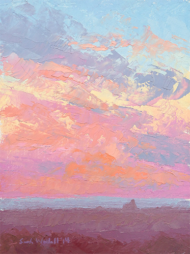 Race Point Sunset, oil on board, 8 x 6