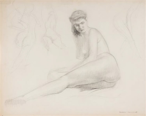 Henry Hensche Figure Drawing 18 x 22″ Reserve: $750 Courtesy of Egeli Gallery
