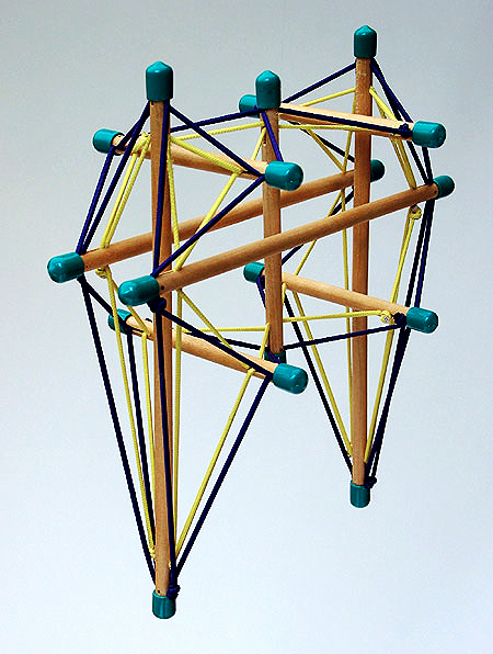 Double Tensioned Pelvis:The deeper tension net (yellow) is under a higher level of tension than the surface net (dark blue) on the assumption that the deeper layers of ligaments and muscles are 'holding' a greater tensile load that the superficial muscles.