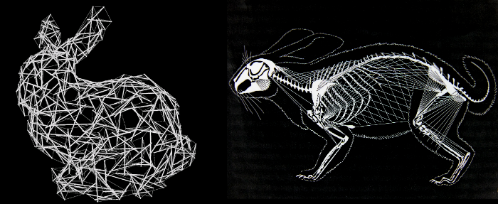 """Modèles de tenségrité de représentation stylisée d'un lapin, de Tomohiro Tachi. Ce genre d'étude est une application de l'approche de Tom Myers qui formalise les interactions entre fascia et os chez les vertébrés, développée au Rolf Institute dans les années 90 et inspirée par le mantra de Ida Rolf : """"Tout est connecté par le fascia""""."""