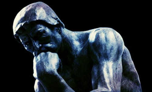 The Thinker   (French:   Le Penseur  ) is a bronze sculpture by Auguste Rodin, usually placed on a stone pedestal. The work shows a nude male figure sitting on a rock with his chin resting on one hand as though deep in thought and is often used as an image to represent philosophy.