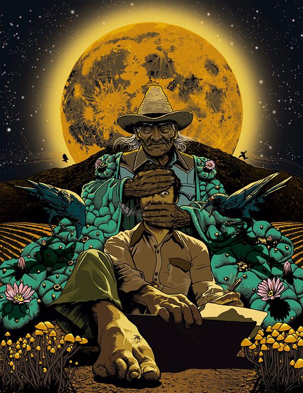 A manga style illustration of Carlos Castaneda and Don Juan Matus. L'article qui suit est fortement influencé par Tom Robbins, que j'ai découvert grâce à Lea Marie Perfetti.
