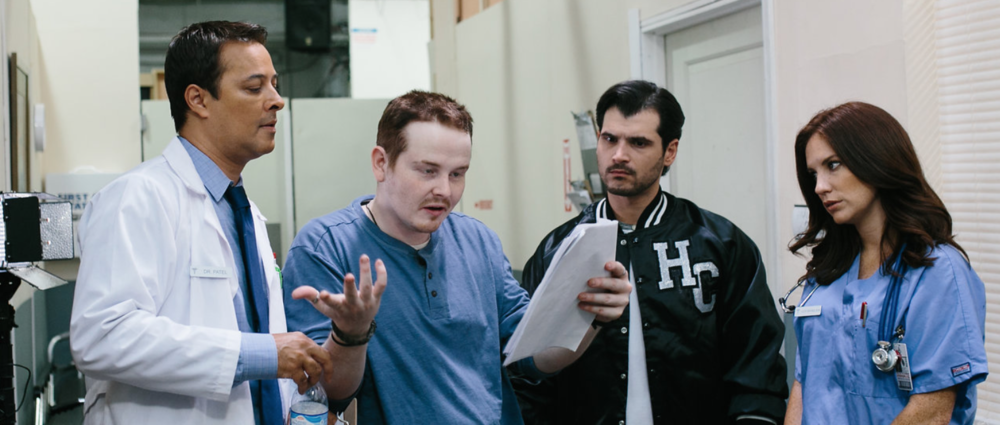 Hayden Croft, director (second from left) with actors Kamall Shaikh (doctor), Jason Darcy (Jo) and Heidi Heaslet (Nurse Lucy)