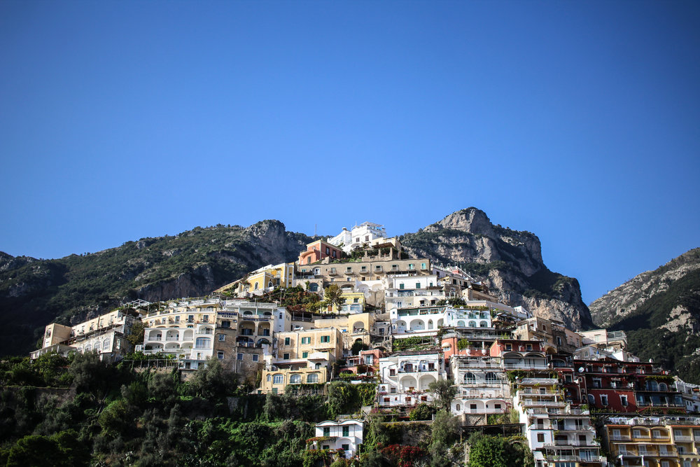 Positano from the boat as we arrived. Villa Franca is the white building perched right on the top!