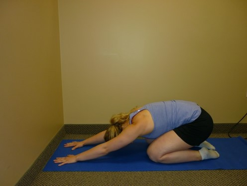Child's pose can a relaxing position if you are feeling stressed out or overwhelmed.