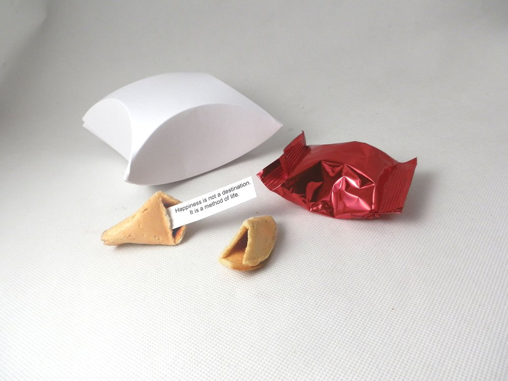 white pillow single fortune cookie box