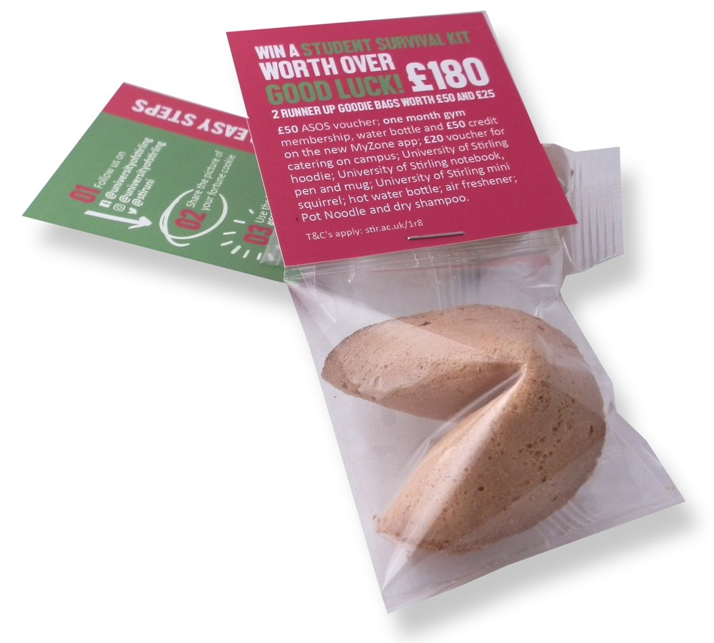 personalised fortune cookies with branded header cards
