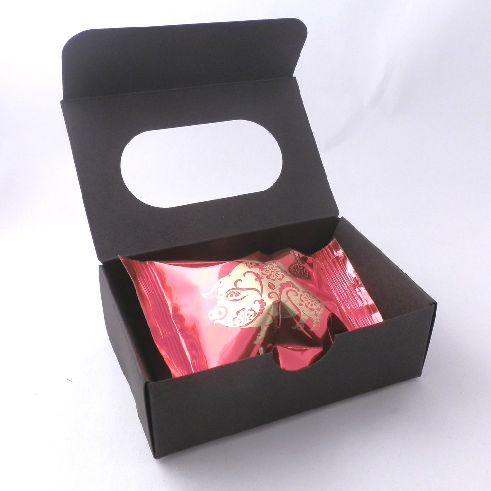 promotional fortune cookies - window presentation boxes - black
