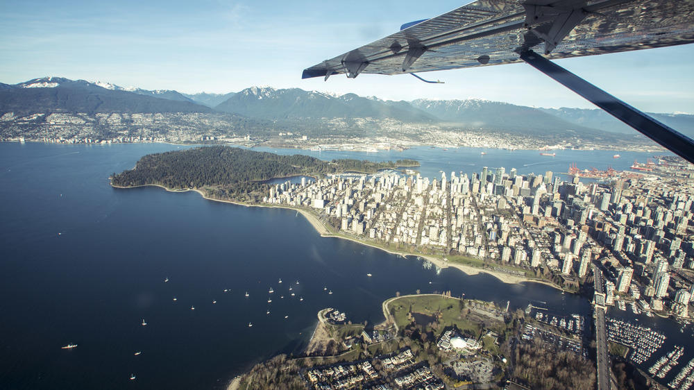 View over Vancouver from a scenic flight