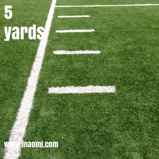 5 yards...