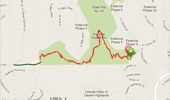 Garmin map of Pinnacle Peak Park hike