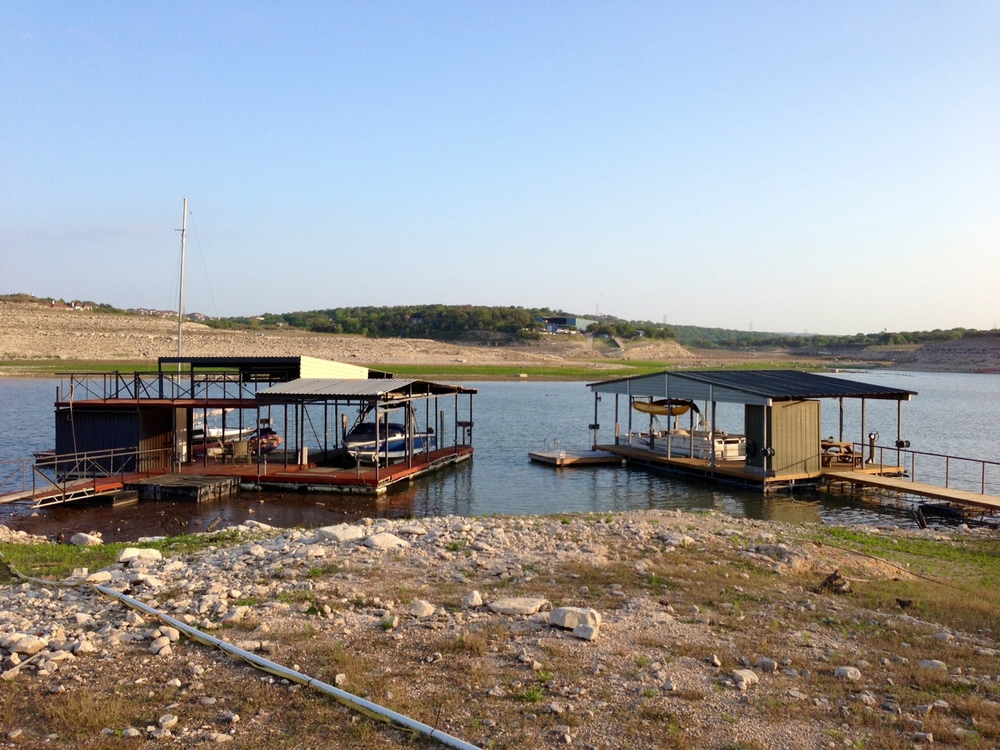 Boat docks on Lake Travis