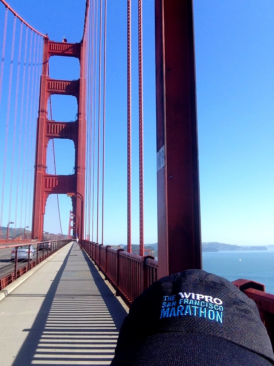 Sporting my new San Francisco Marathon hat on the GGB