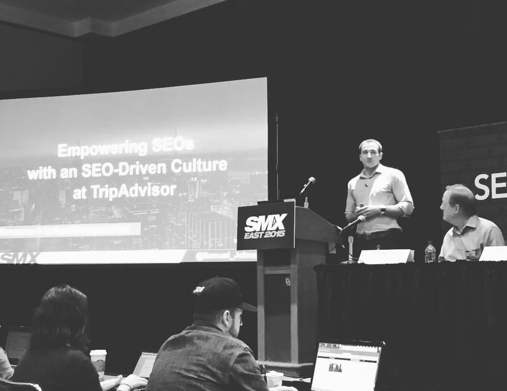 """Presenting at #smxeast in #NYC earlier this week. Sharing challenges and solutions to global scale SEO. It was a fun time! Received positive feedback and some good questions. Looking forward to my next experience sharing a message with a large group. """"Empowering SEOs with a SEO-driven culture at TripAdvisor"""" #SMX #Speaking #PublicSpeaking #SEO #SEOjobs  (at Javits Center)"""