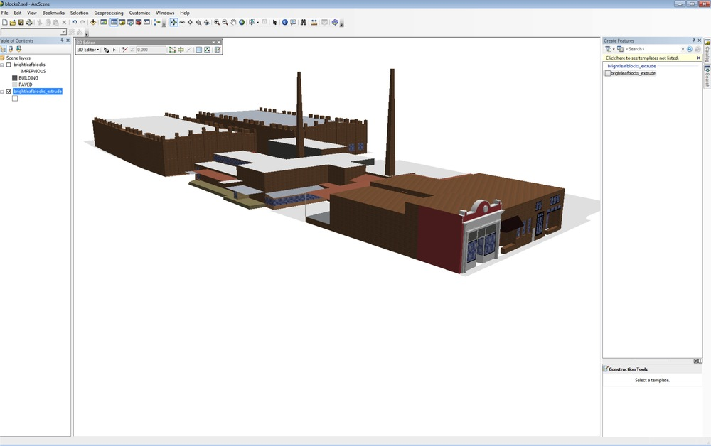 The same models, viewed in ArcScene. Through my workflow I was able to retain full 3D analysis capabilities.