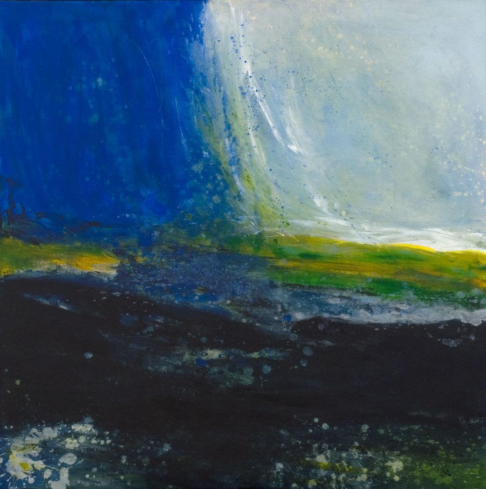 falaise bleue acrylique sur toile 91 x 91 cm