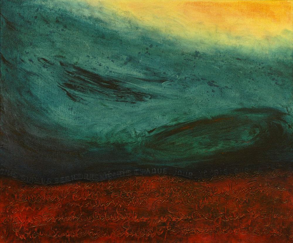 J'écris sur la terre acrylique sur toile 51 x 61 cm