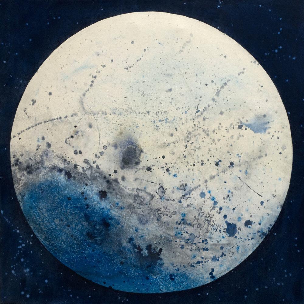 Voyage dans la lune, acrylique sur toile 61 x 61 cm