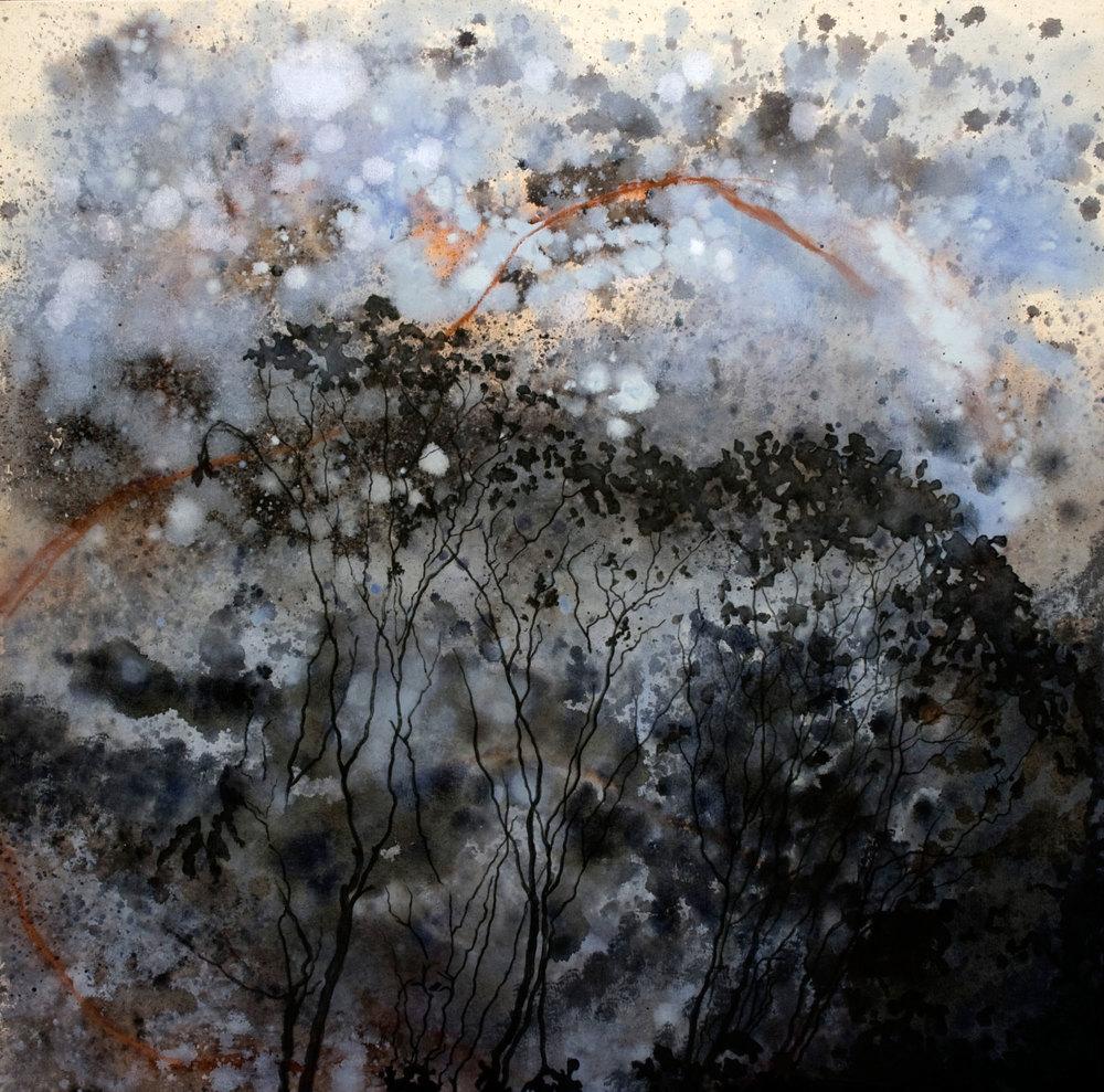 entre ciel et terre no1  acrylique sur toile 122 x 122 cm